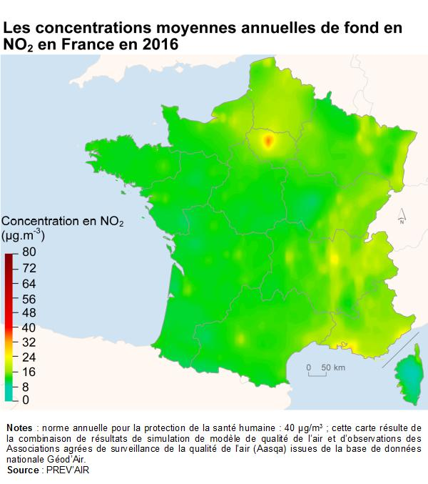 2016 France prevair carte pollution air exterieur